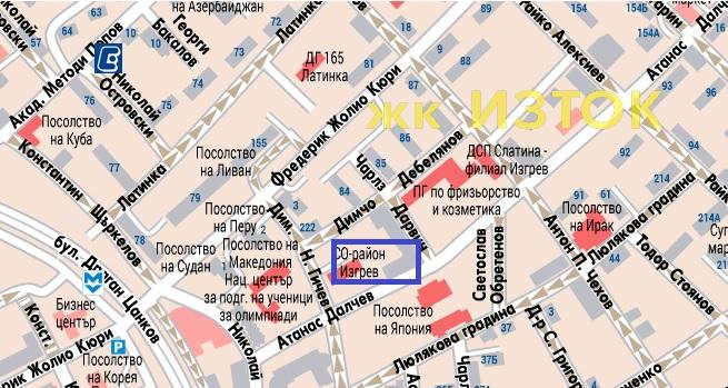 карта на мобилен пункт за опасни отпадъци в кв. Изток