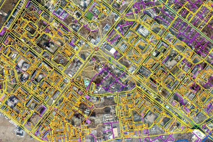 мрежа на пешеходните отсечки и пътеки в София