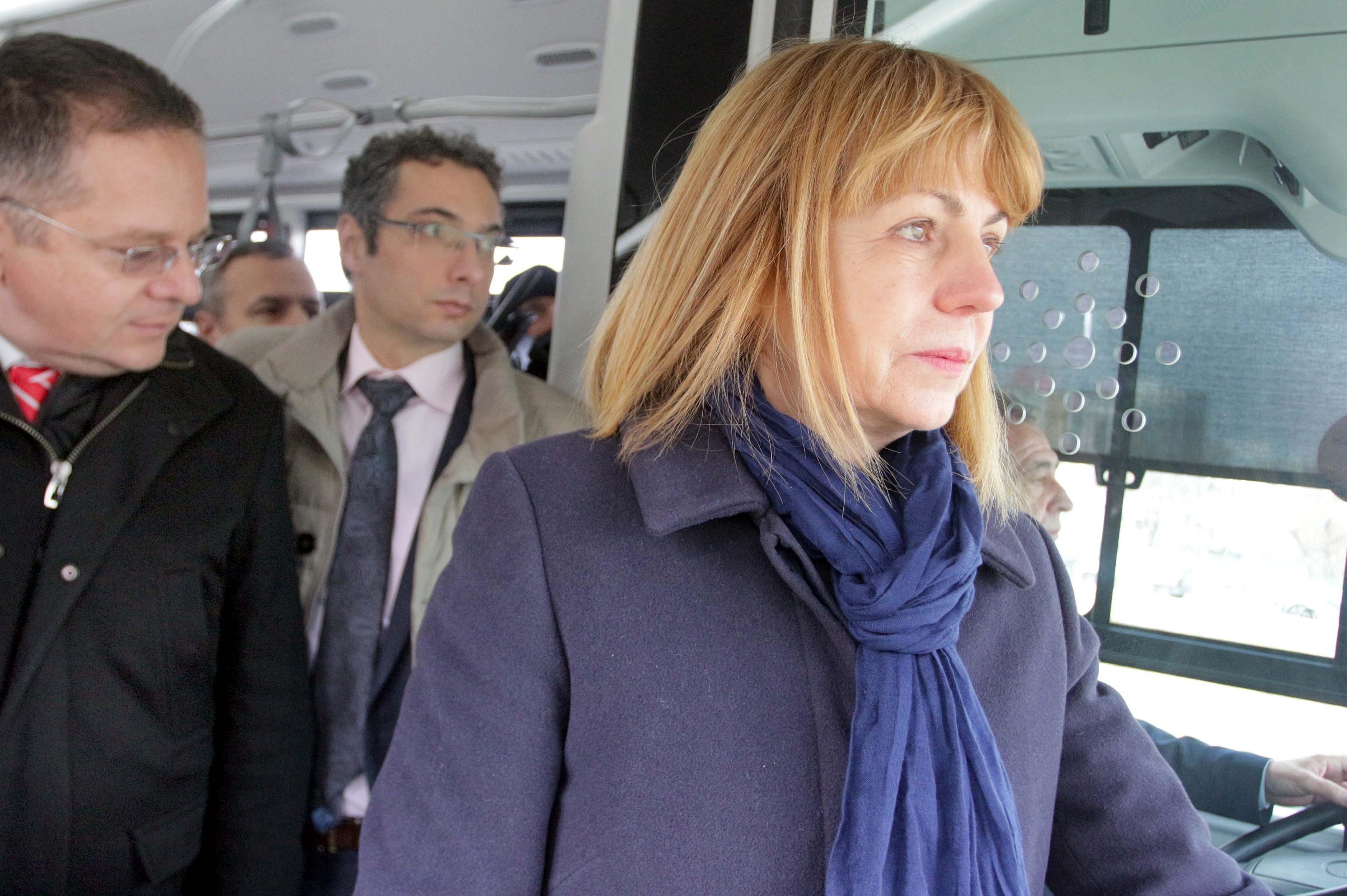 Йорданка Фандъкова  в електробус