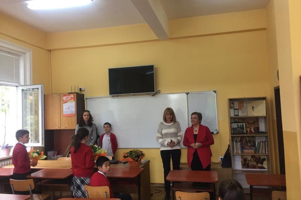 Йорданка Фандъкова на открит урок в училище в Надежда