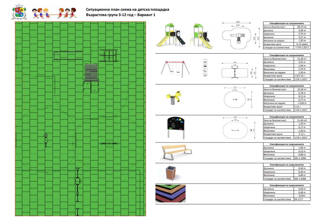 Варианти за съоръжения на нови детски площадки