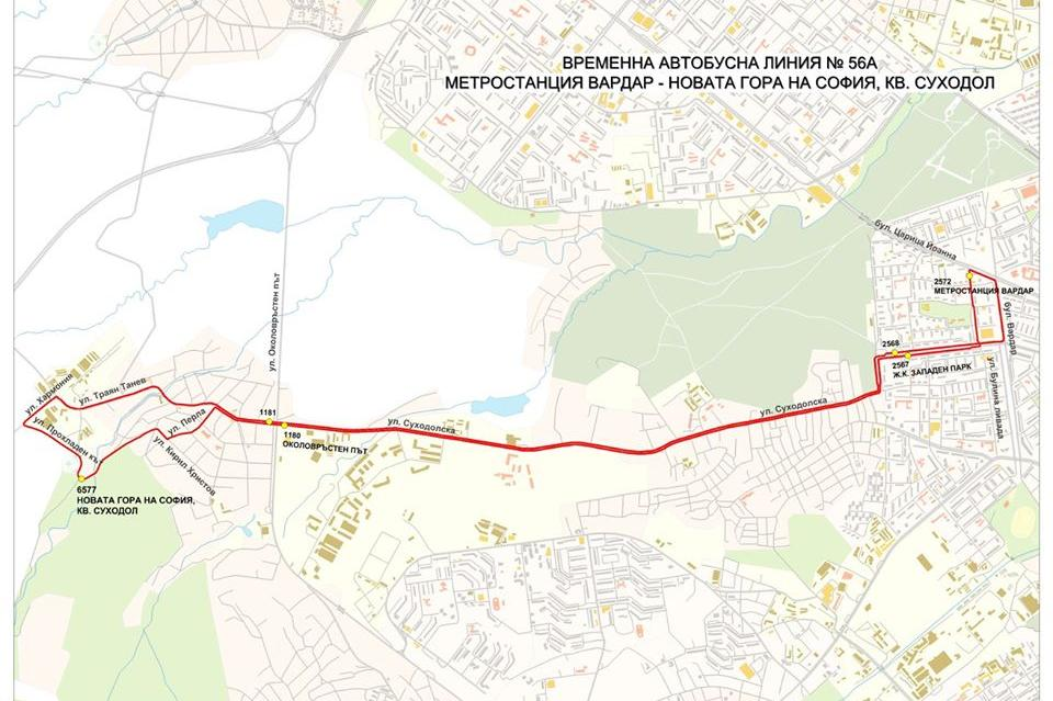 Маршрута на временната линия за Новата гора на София