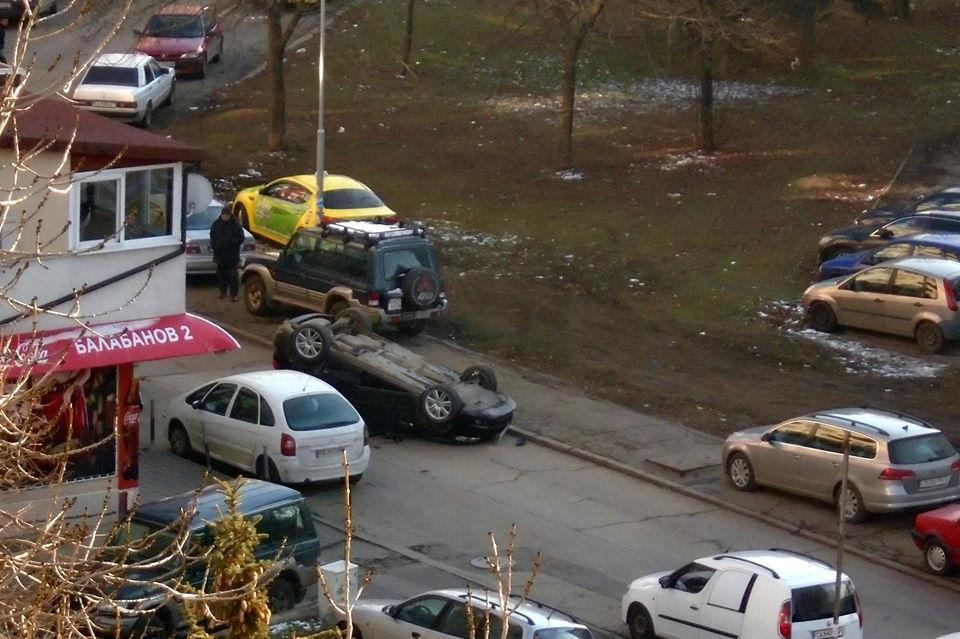 Обърнаха кола на таван в Люлин