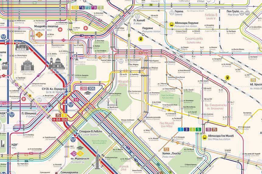 Карта на градския транспорт в София