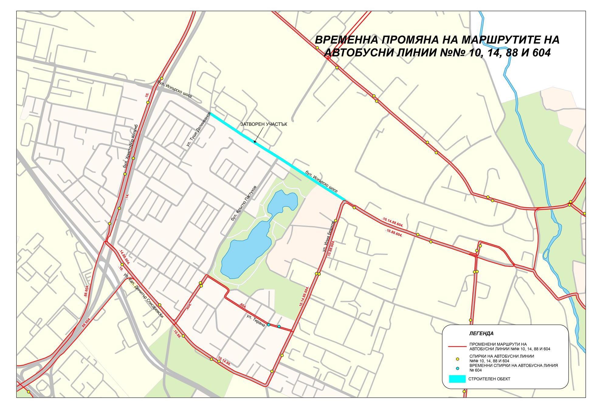 Карта на променения маршрут на автобуси 604, 88, 10 и 14 в Дружба 1