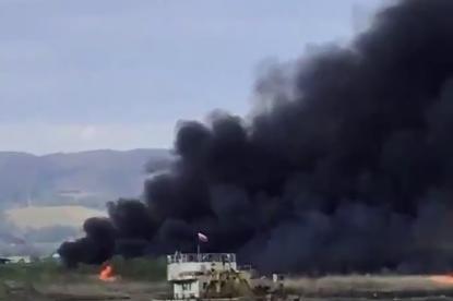 Пожар гори край езерото в с. Негован