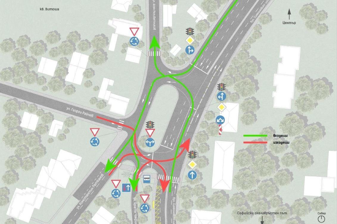Предложение: Кръгово движение ще улесни вход и изход на столичния кв. Витош