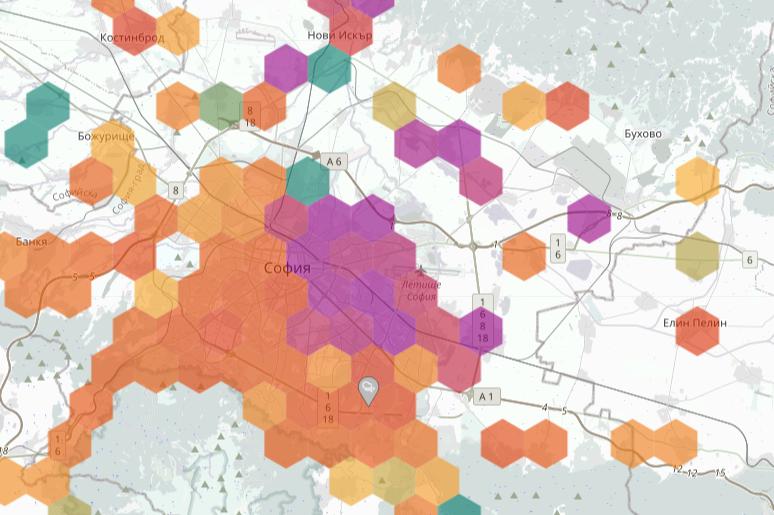 Карта на въздуха в София