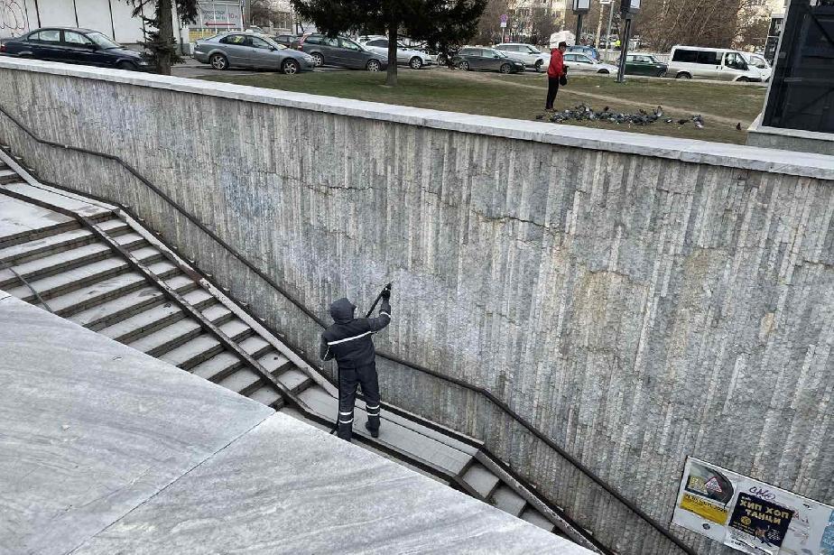 Заличиха нецензурни графити в подлеза на бул. Т. Каблешков (СНИМКИ)