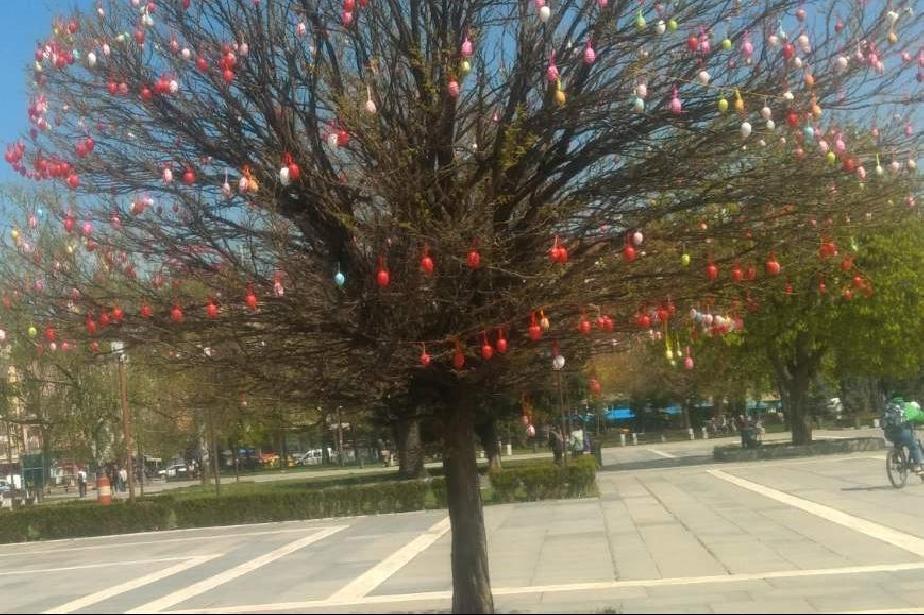 В парка на НДК украсиха дърво с 1000 декоративни яйца за Великден (СНИМКИ)